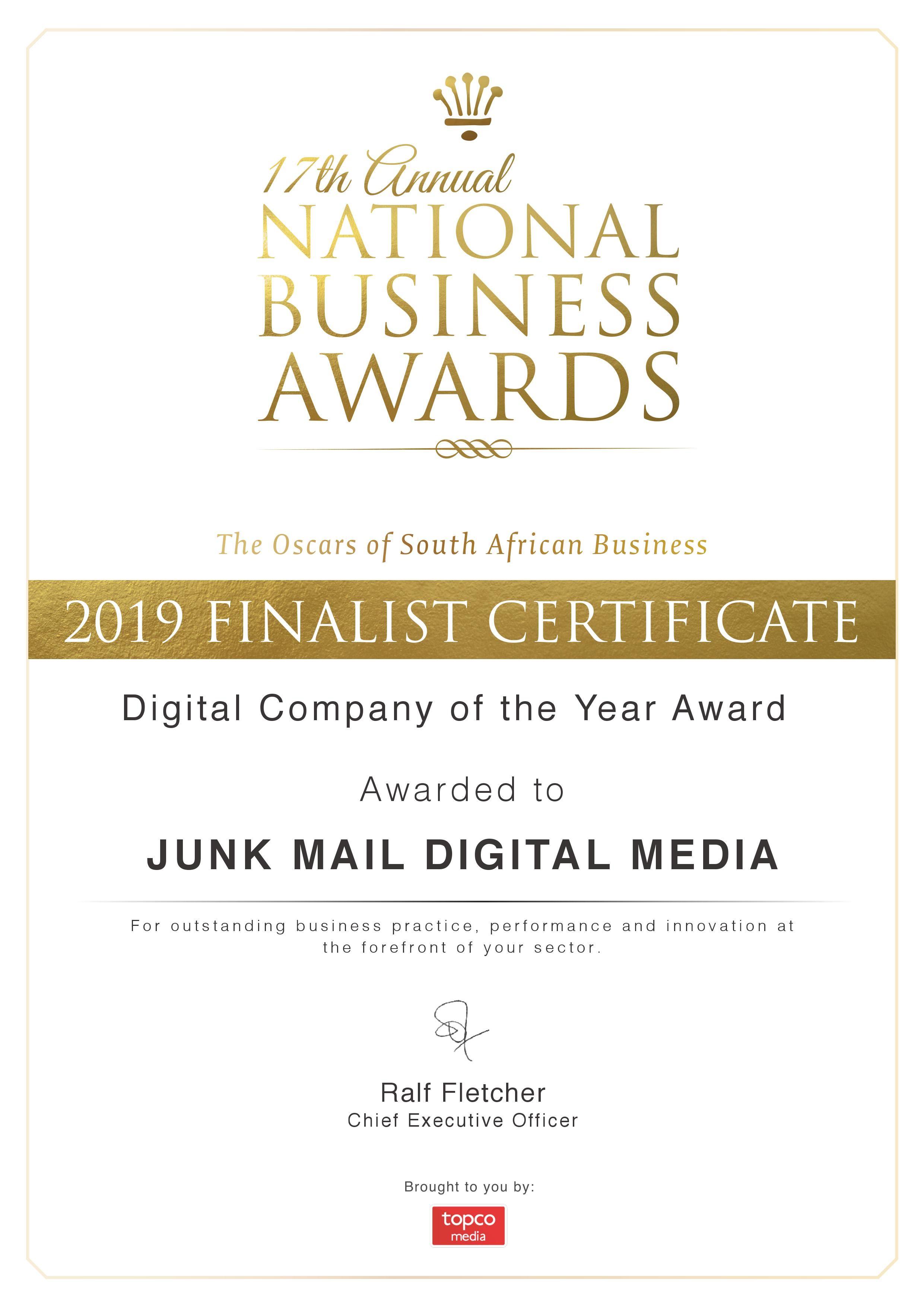 NBA Finalist Certificate 2019 - Digital Company of the Year Award - Junk Mail Media Group